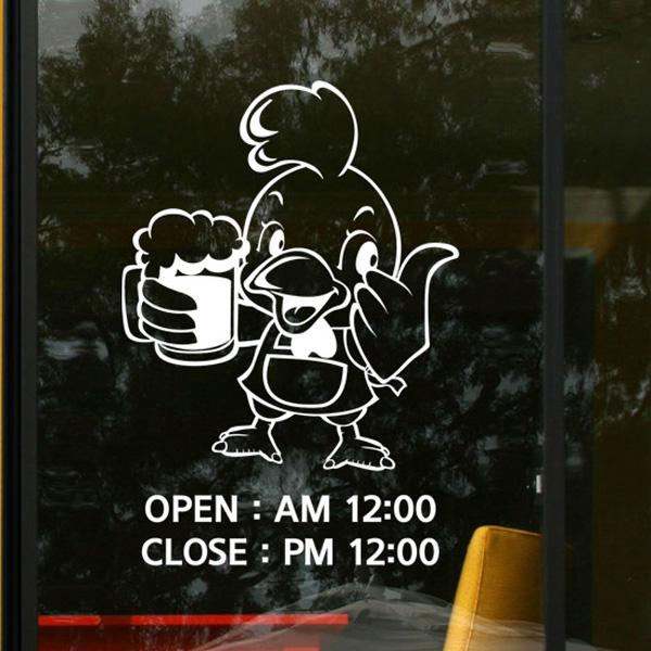 그래픽스티커 ik420-치킨이랑맥주 오픈_클로즈 포인트스티커 유리스티커 데코스티커 크리스마스스티커 눈꽃스티커