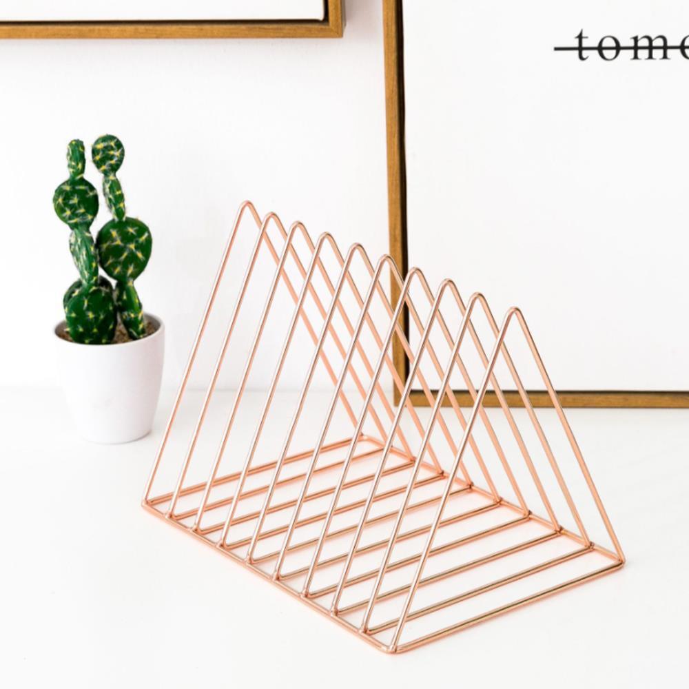 삼각 프레임 로즈골드 책꽂이 사무용품 스탠드책꽂이 잡지꽂이 책꽂이 책상정리 스탠드책꽂이 사무용품