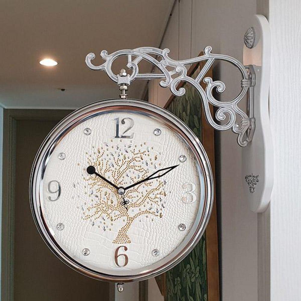 행운나무 무소음 양면시계 (아이보리) 양면시계 양면벽시계 벽시계 벽걸이시계 인테리어벽시계