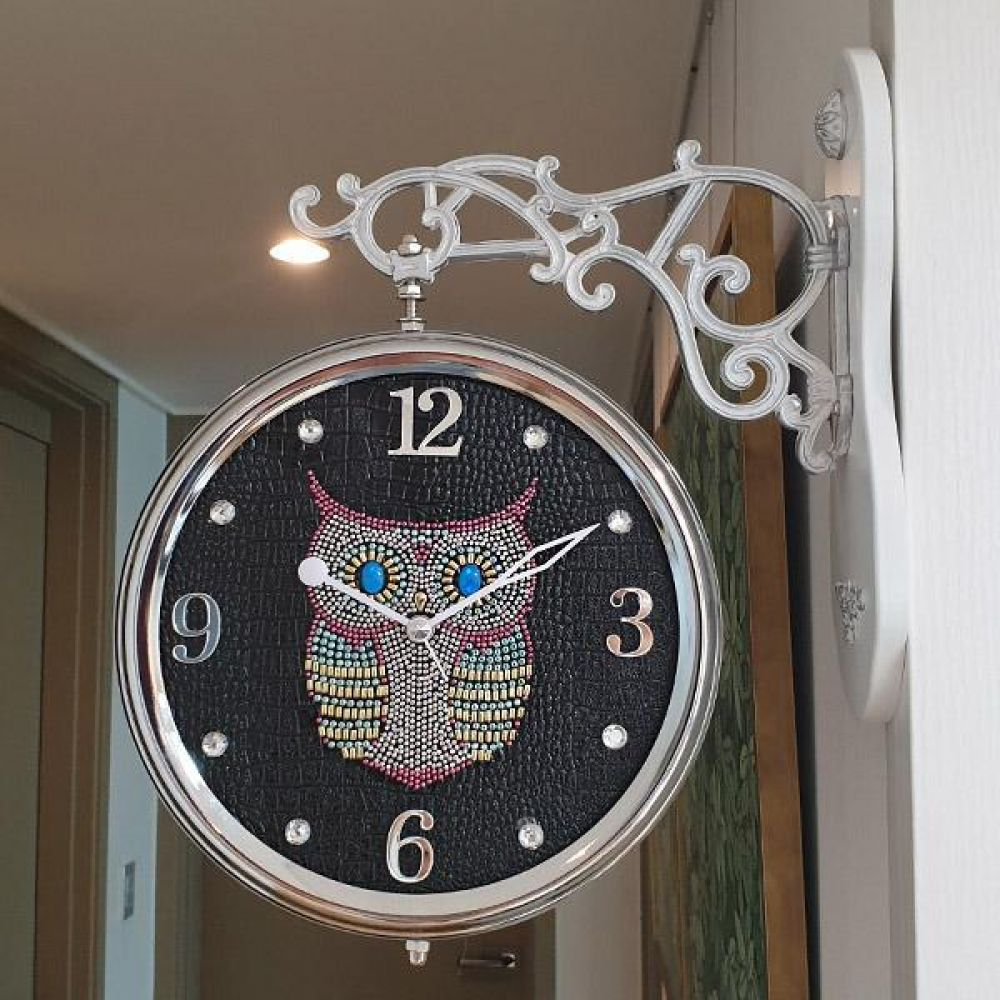 스위트 부엉이 무소음 양면시계 (블랙) 양면시계 양면벽시계 벽시계 벽걸이시계 인테리어벽시계