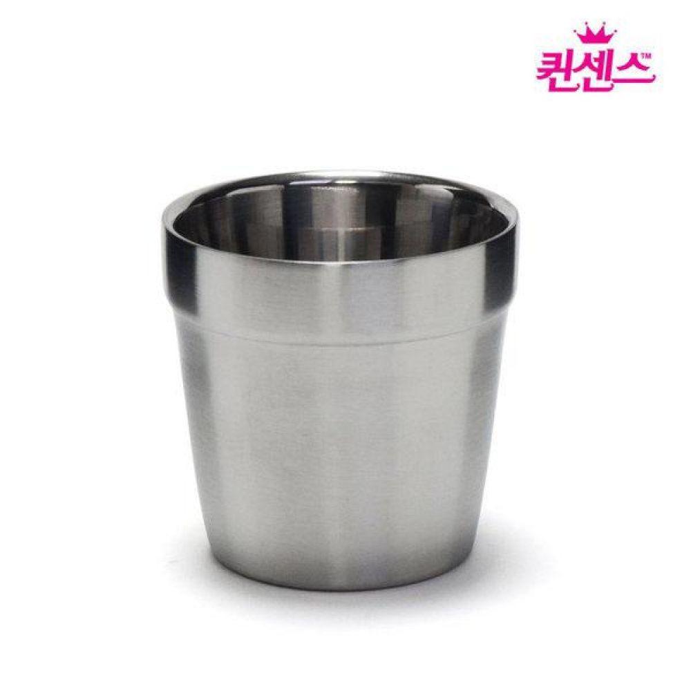퀸센스 컵 2중 물컵 이중스텐물컵 (304재질) 물컵 스테인리스컵 양치컴 이중진공컵 주방용품