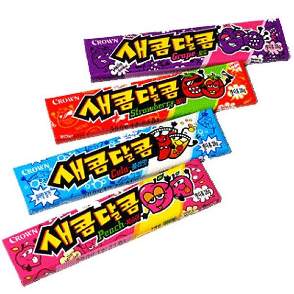 크라운)새콤달콤(복숭아) 29g x 45개 새콤하고 달콤한 츄잉캔디 사탕 캔디 껌 과일 상큼
