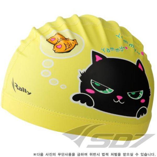 KRA-1500-YEL 고양이 랠리 아동코팅수모 수영모자 수영용품 수영모 수중운동용품 캐릭터수영모
