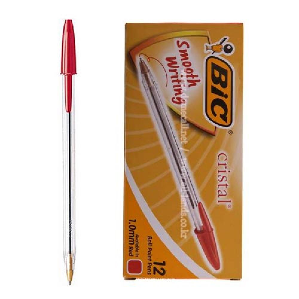 크리스탈 빅볼 빨강 12개 볼펜 필기도구 레드 펜 레드 빅볼 볼펜 펜 필기도구
