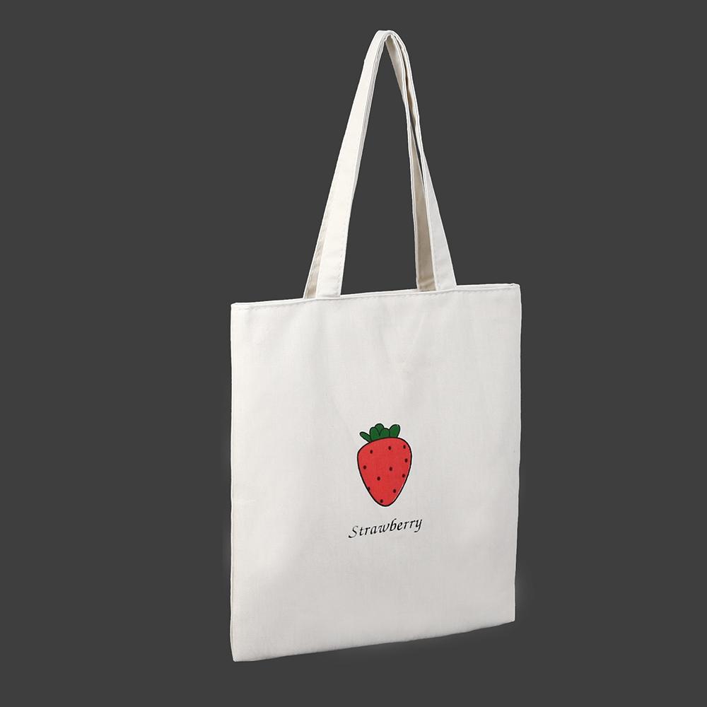 딸기 캔버스백 가방 지퍼형에코백 캔버스가방 에코백