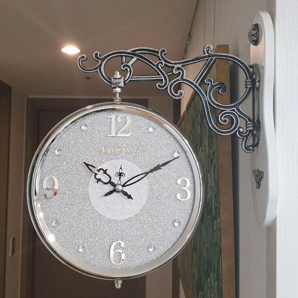 글리터 무소음 양면시계 (실버그레이) 양면시계 양면벽시계 벽시계 벽걸이시계 인테리어벽시계