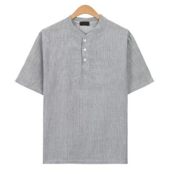 블랙 시어서커 스트라이프 헨리넥 티셔츠_CMT017 헨리넥반팔티 남자반팔티 반팔티 무지반팔티 티셔츠 반팔티셔츠 남자티셔츠 남자오버핏반팔