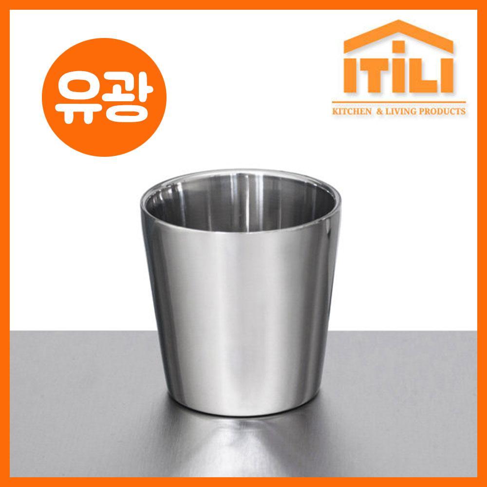 이딜리 스테인레스 이중컵 일반 유광 컵 컵 업소용컵 가게컵 음식점컵 심플컵 유광컵