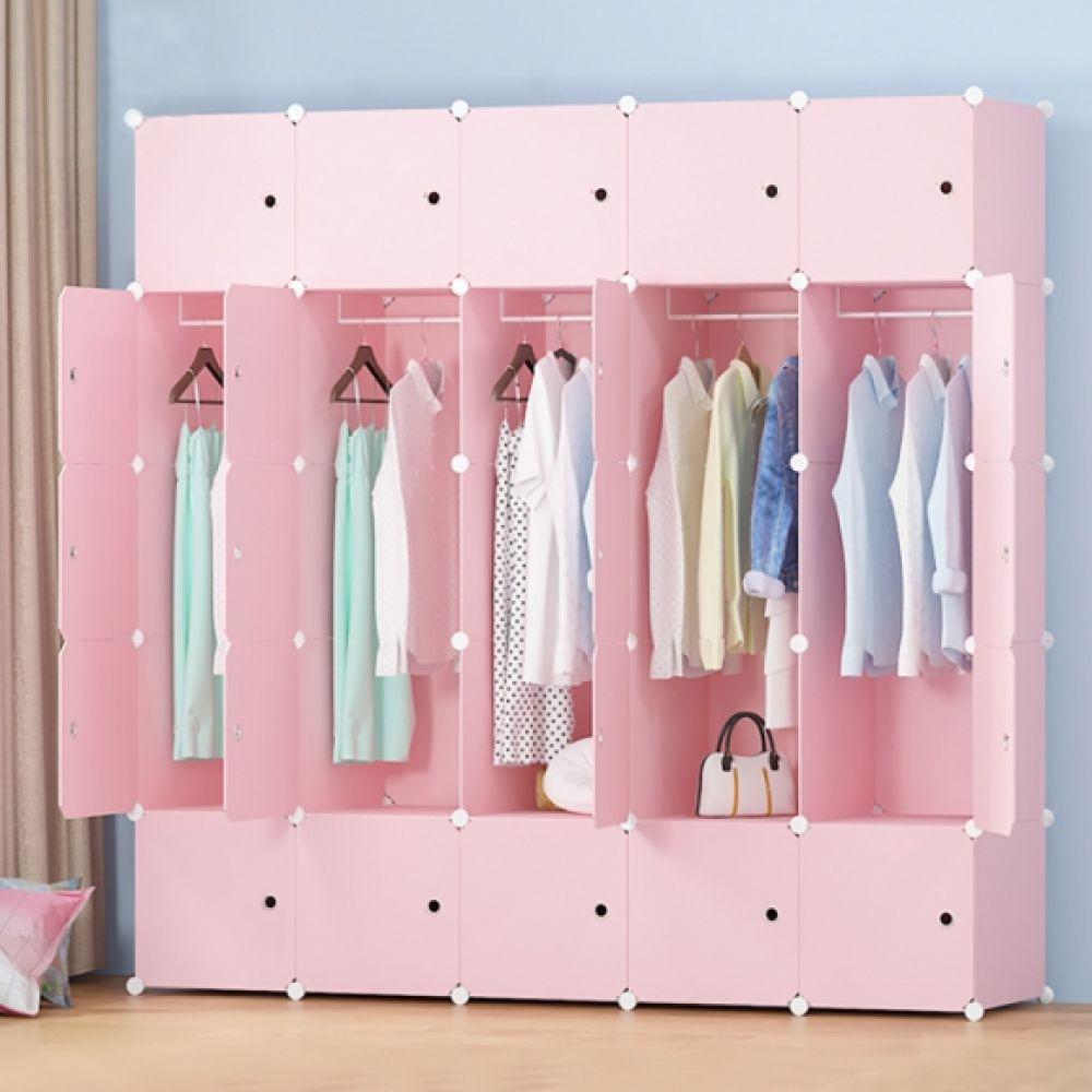 핑크하우스 조립식 선반 옷장(5열15칸) 선반 옷장 조립식선반 조립식옷장 핑크선반