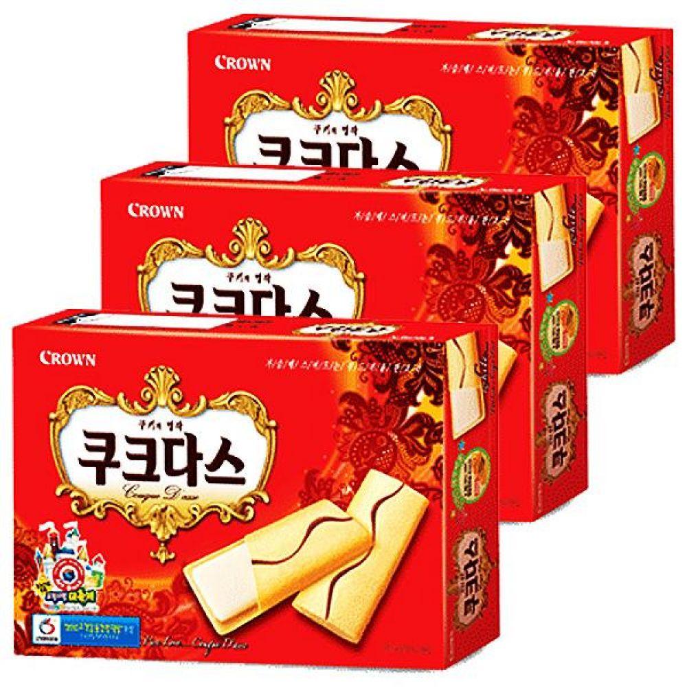 크라운)쿠크다스(화이트) 빨간색 77g x 12개 부드러운 쿠키의 명작 과자 간식 비스켓 비스킷 심심풀이
