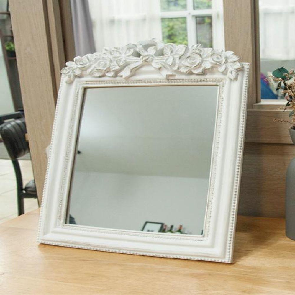 8033 화이트 장미 사각 거울 탁상거울 벽거울 벽걸이거울 빈티지거울 빈티지소품