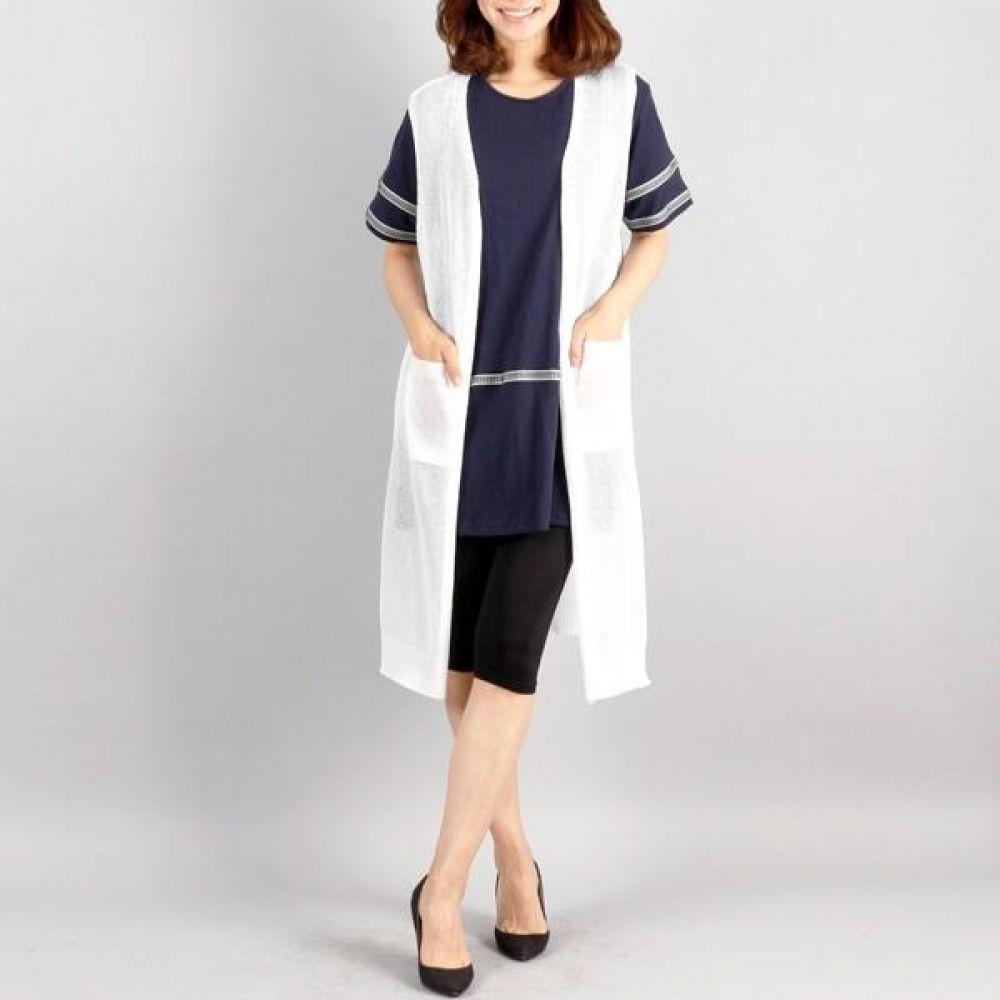 빅사이즈 005 여름 니트 롱 조끼 DRM0321 빅사이즈 여성의류 미시옷 임부복 005여름니트롱조끼DRM0321
