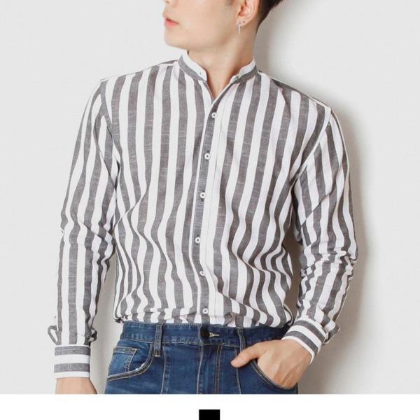 차이나카라 블랙 스트라이프 긴팔 셔츠 남자셔츠 남자남방 가을셔츠 스트라이프셔츠 패턴셔츠 차이나카라셔츠 긴팔셔츠 킹스맨