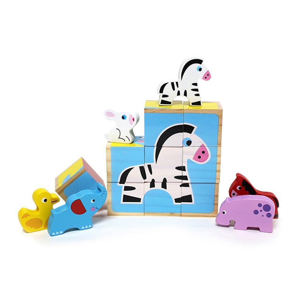 장난감 유아 학습 아동 놀이 애니멀 블록 6면 퍼즐 퍼즐 블록 블럭 장난감 유아블럭