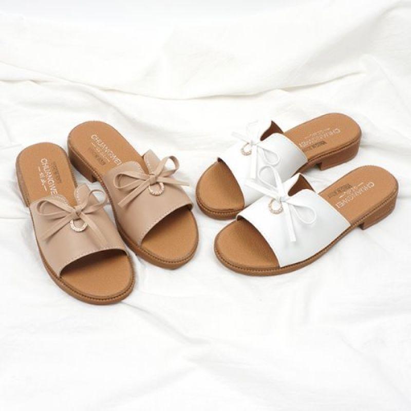 큐빅 리본슬리퍼 3cm SH0015-A85 블로퍼 여성샌들 여성슬리퍼 여름샌들 여성신발