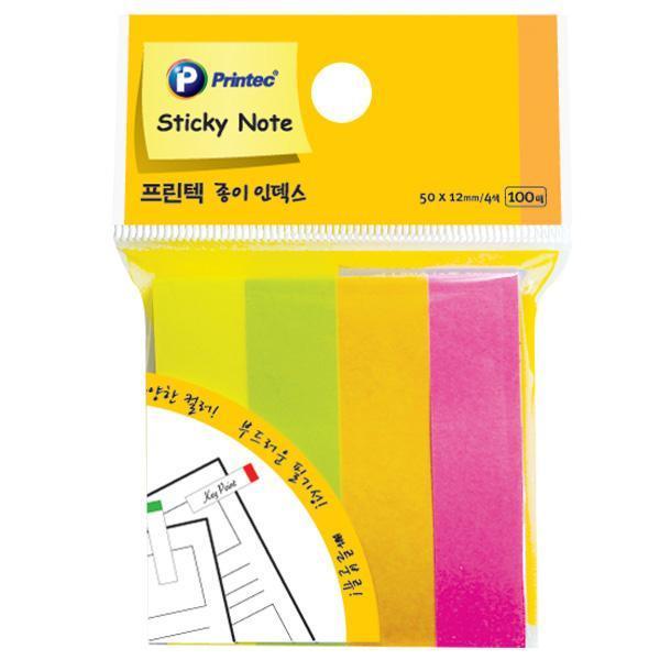 프린텍 PI030 스티키노트 인덱스 형광4색 100매X3개 스티키노트 포스트잇 메모지 점착메모지 접착메모지 프린텍 애니라벨 팝업플래그