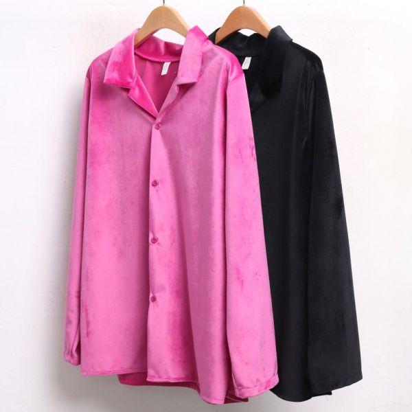 미시옷 3966L812 심플 벨벳 블라우스 LT 빅사이즈 여성의류 빅사이즈 여성의류 미시옷 임부복 벨로아카라블라우스