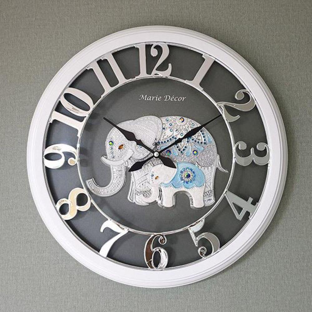 넘버링 우드 벽시계 (파인보석 코끼리 실버) 벽시계 벽걸이시계 인테리어벽시계 예쁜벽시계 인테리어소품