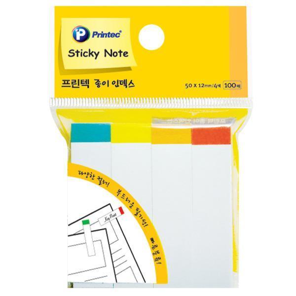 프린텍 PI010 스티키노트 인덱스 부분색상 100매X3개 스티키노트 포스트잇 메모지 점착메모지 접착메모지 프린텍 애니라벨 팝업플래그