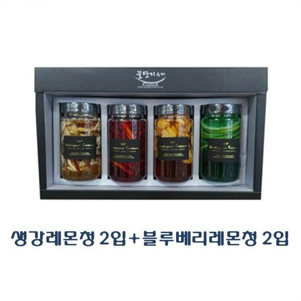 (수제 과일청 선물세트) 생강레몬청 300ml(2입) x 블루베리레몬청 300ml(2입)_100퍼센트 원당만 사용 청 조청 과일 조림 단맛