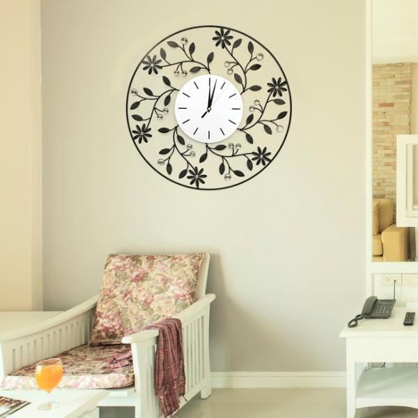 JHC컴퍼니 플라워가든 크리스탈 벽시계(50cm) 벽시계 탁상시계 시계 클래식시계 엔틱벽시계
