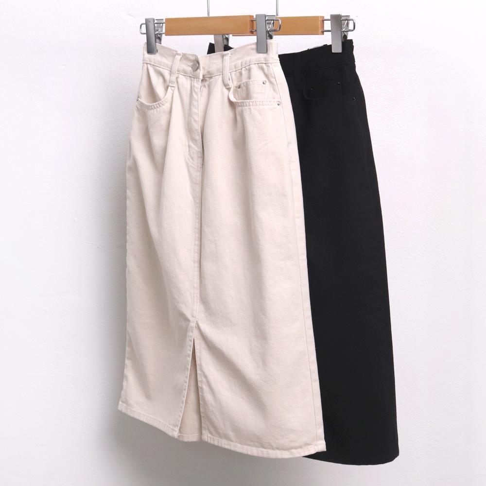 미시옷 6891L910 원 버튼 면 스커트 LO 빅사이즈 여성의류 빅사이즈 여성의류 미시옷 임부복 코튼H라인스커트