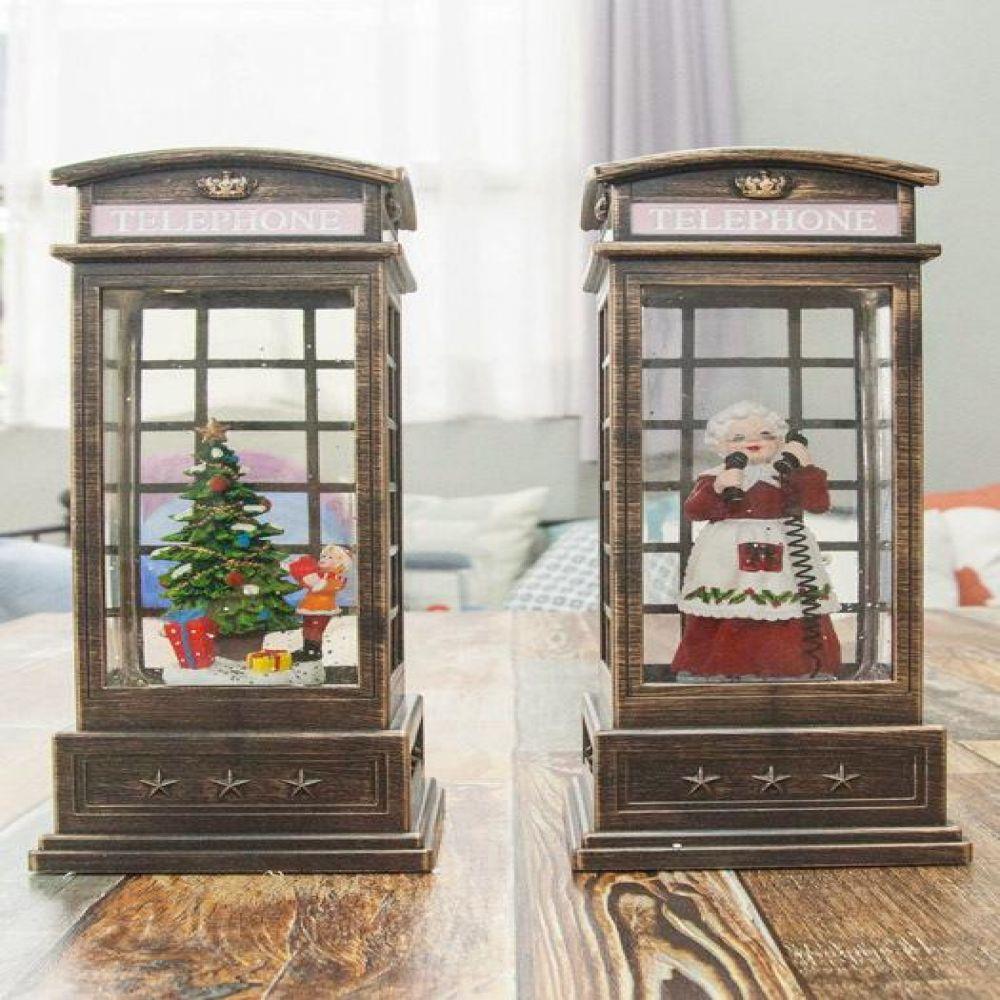 공중전화 박스 LED 워터볼 오르골 멜로디워터볼 LED소품 크리스마스소품 장식소품 LED오르골