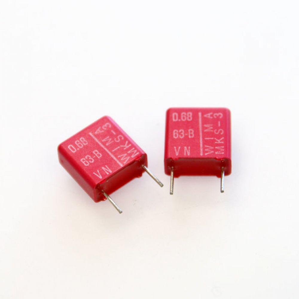 독일 위마 콘덴서 캐패시터 63V 0.68uF MKS3 2개씩 5묶음 콘덴서 오디오 캐패시티 audio 위마 WIMA 독일
