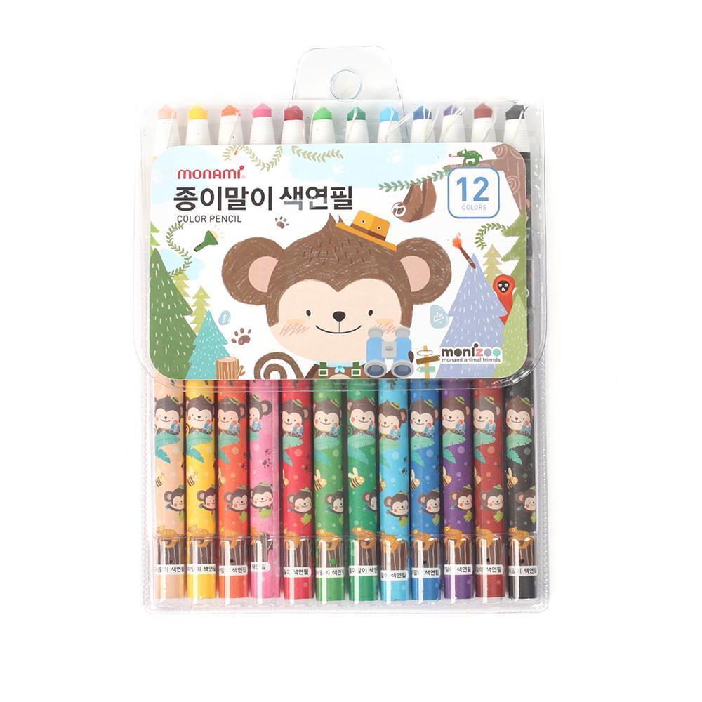 12색 블루 종이말이 색연필 미술용색연필 고급색연필 미술용색연필 고급색연필 색연필 컬러링색연필 미술준비물