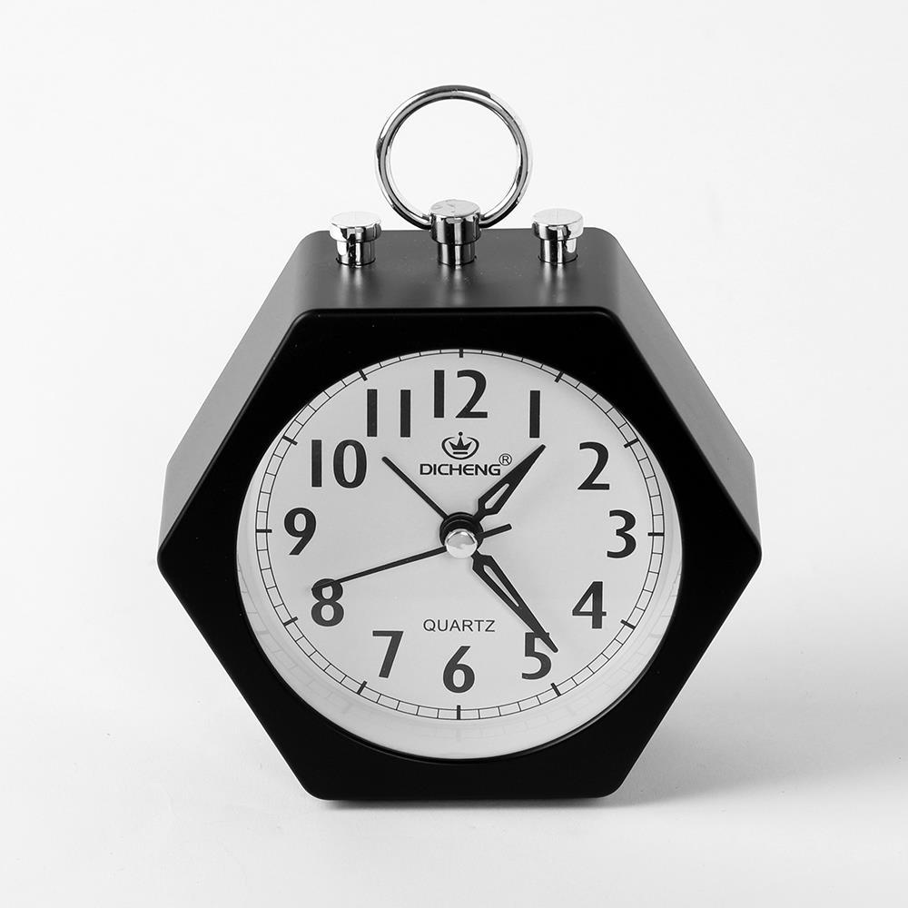 알람시계 블랙 무소음 육각 무소음시계 생활용품 무소음시계 생활용품 인테리어시계 탁상시계 알람시계