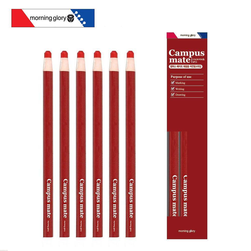 모닝글로리 캠퍼스메이트 채점용 축지색연필 (6개입) 캐릭터 색연필 학용품 축지 준비물
