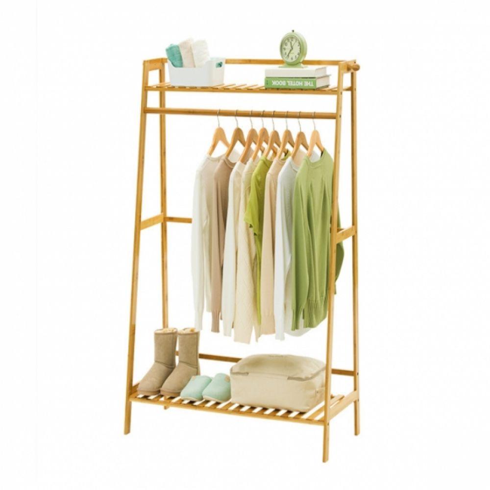 2단 대나무 선반 옷걸이 행거(브라운) (70cm) 행거 옷걸이 선반 대나무옷걸이 대나무행거