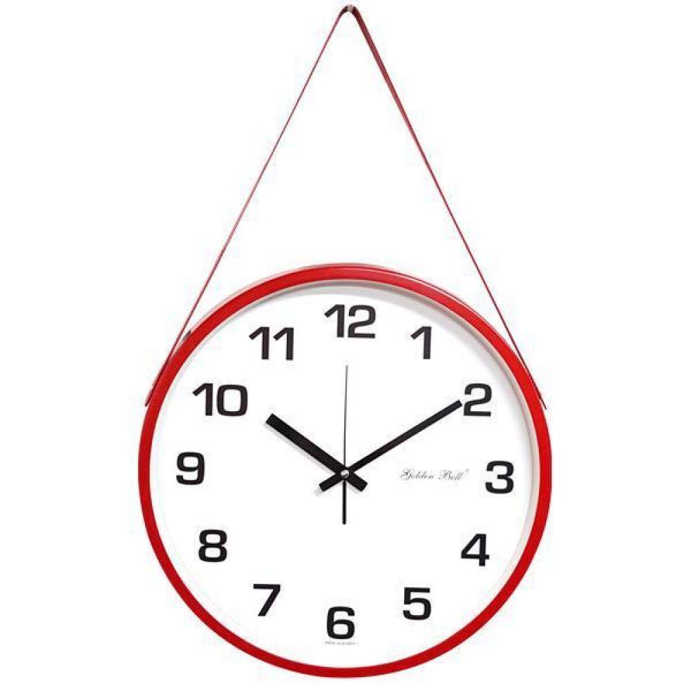 GB4575 무소음 메탈 가죽 벽시계 36.5cm 레드 제조한국 벽시계 무소음시계 모던벽시계 메탈벽시계 장식벽시계 서재벽시계 디자인시계 가죽시계 시계 집들이시계