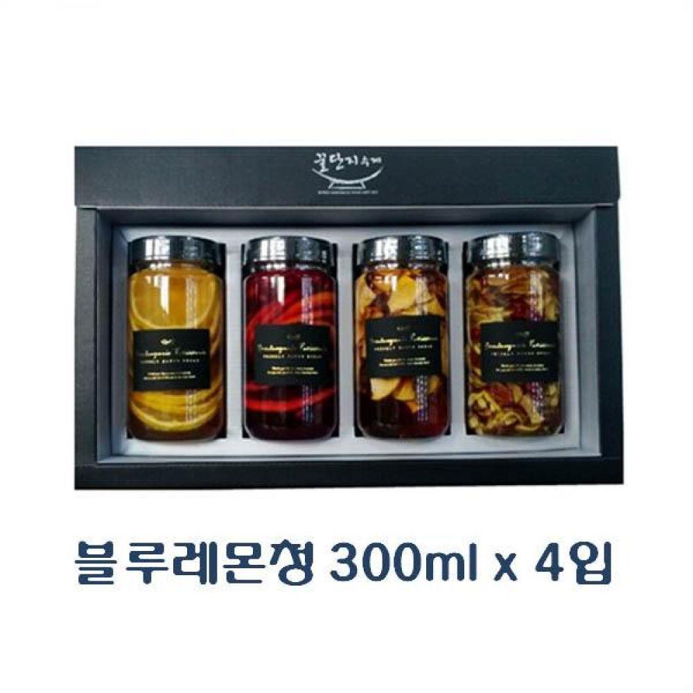(수제청 선물세트) 블루레몬청 300ml x 4입_진짜 좋은 과일청 고급 트라이탄 용기 포장 청 조청 과일 조림 단맛
