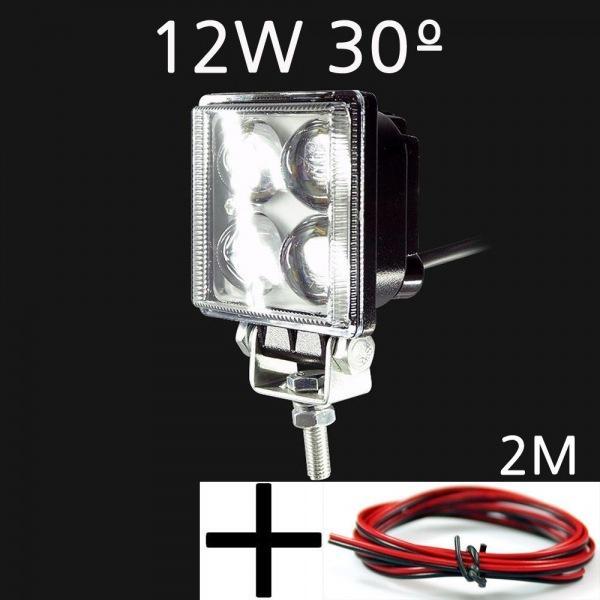 LED 써치라이트 사각형 12W 집중형 해루질 작업등 12V-24V겸용 선2m포함 led작업등 led라이트 낚시집어등 차량용써치라이트 해루질써치