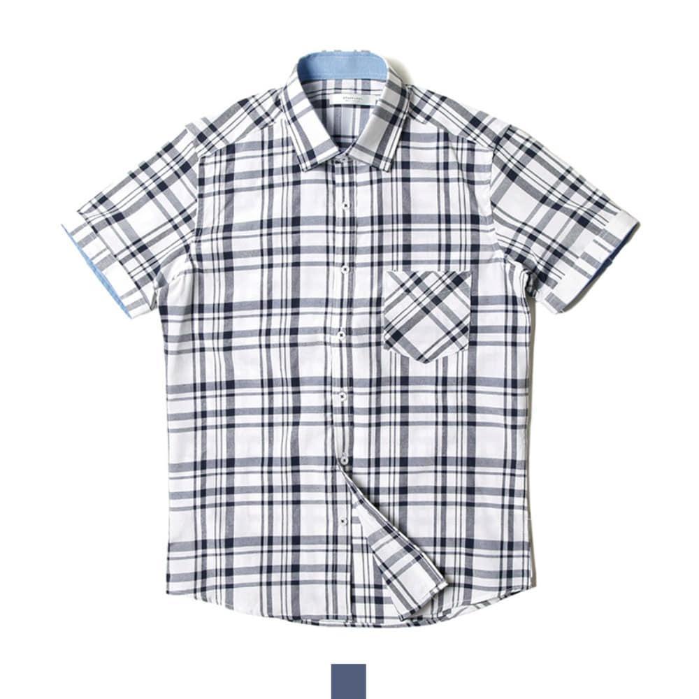 데님 체크 포인트 네이비 반팔셔츠 반팔남방 반팔셔츠 슬림핏셔츠 빅사이즈셔츠 남자셔츠 남자반팔셔츠 캐주얼셔츠 남자여름셔츠 반팔와이셔츠 남자와이셔츠