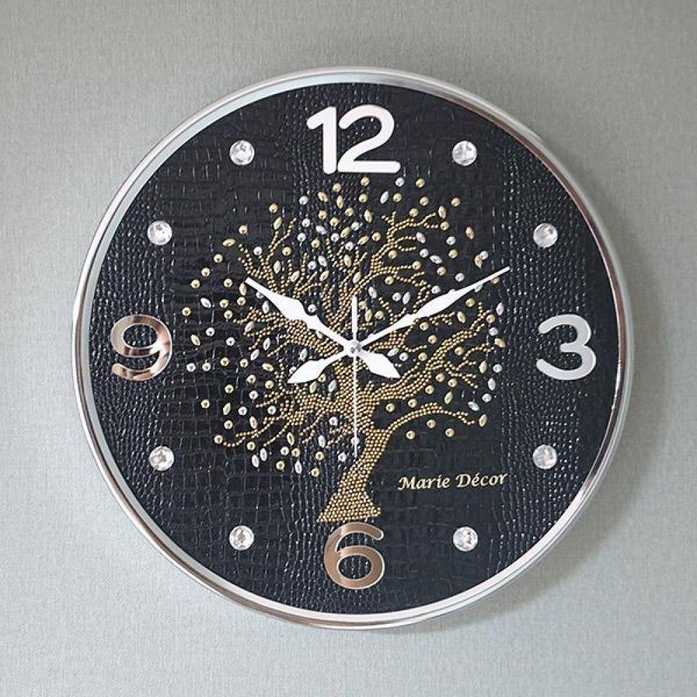 행운나무 무소음 벽시계(대) 블랙 벽시계 벽걸이시계 인테리어벽시계 예쁜벽시계 인테리어소품