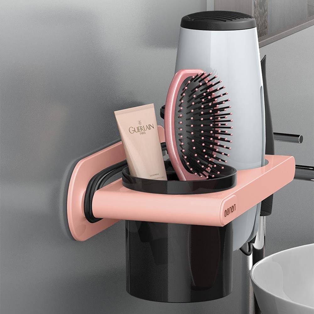 핑크 드라이기거치대 수납형 빗꽂이 빗보관함 다용