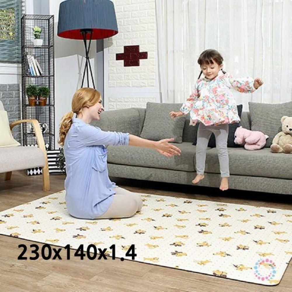 놀이방매트 베어브라운아이보리 230x140x1.4 안전매트 폴더매트 유아매트 어린이매트 놀이방매트 층간소음매트 아기매트 아동매트 거실바닥매트 아이매트 어린이집매트