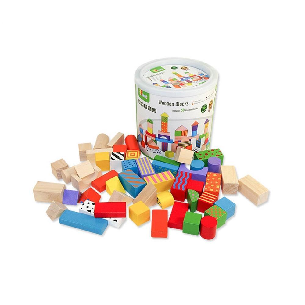 선물 유아 어린이 놀이 원목칼라블럭50P 아이 장난감 퍼즐 블록 블럭 장난감 유아블럭