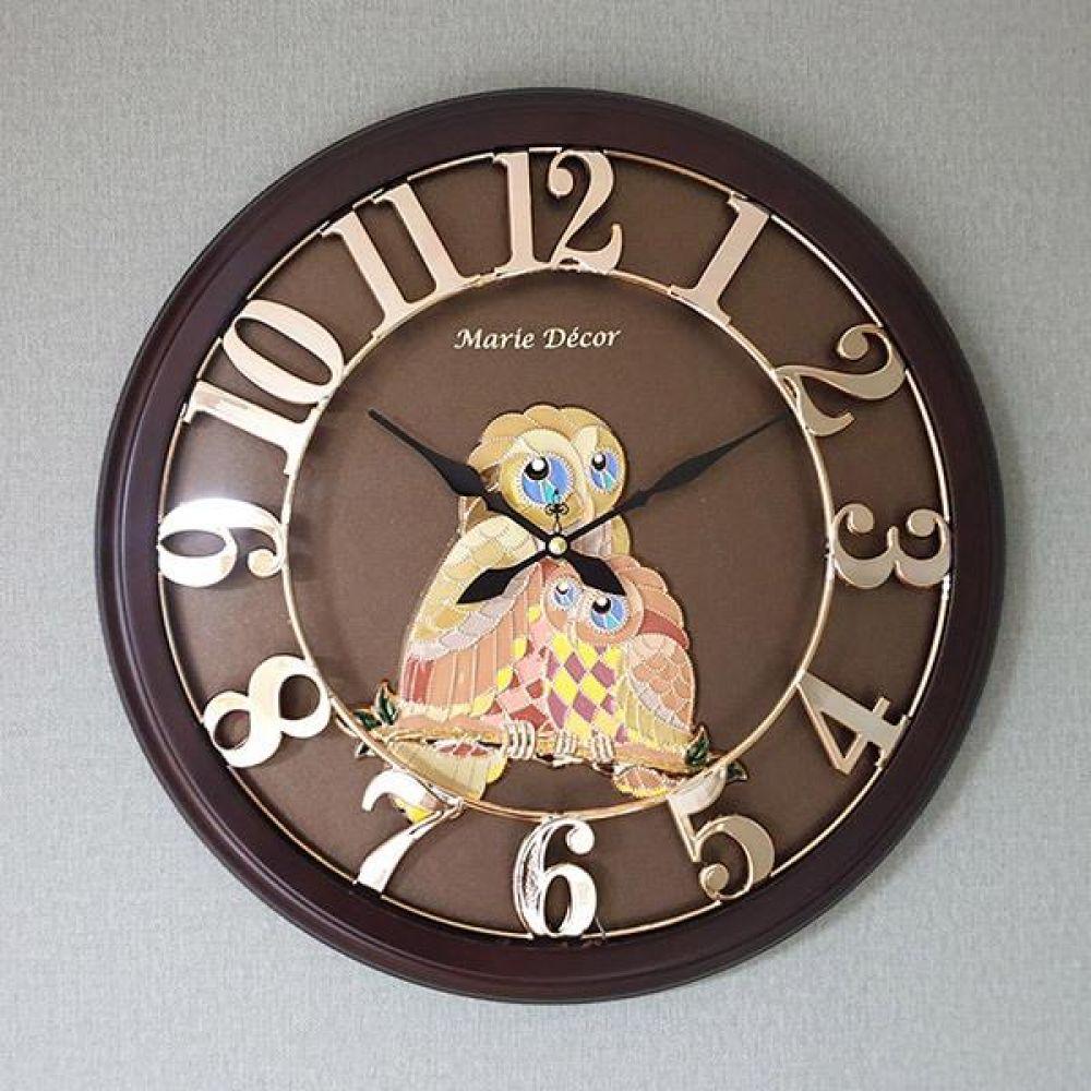 넘버링 우드 벽시계 (컬러블록 부엉이 골드) 벽시계 벽걸이시계 인테리어벽시계 예쁜벽시계 인테리어소품