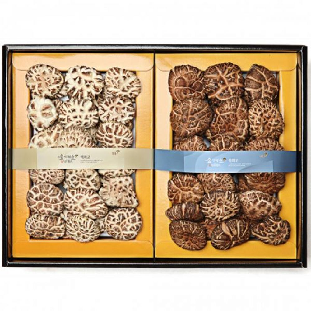 백화고혼합1호 (백화고250g 흑화고250g) 쇼핑백 보자기포장 식품 농산물 채소 표고버섯 선물세트