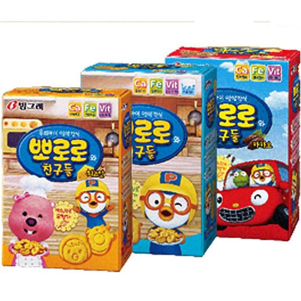 빙그레)뽀로로와 친구들(치즈 플레인 카카오맛)x10개 과자 스낵 간식 군것질 안주