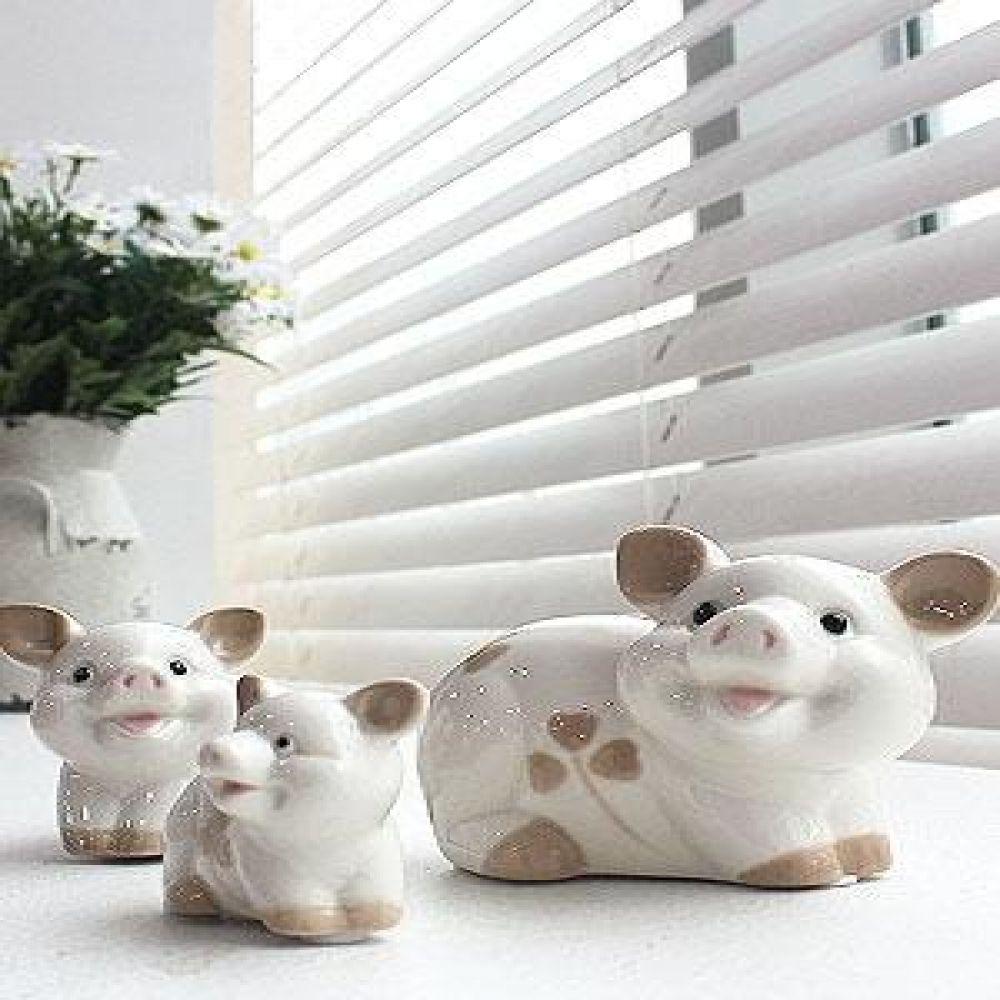 꽃 돼지 3p 도자기소품 돼지소품 돼지장식품 장식소품 장식인형