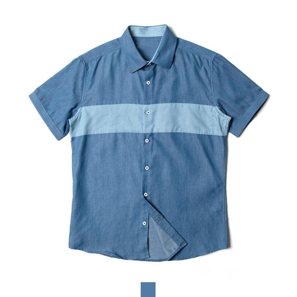 절개배색 블루 반팔셔츠 반팔남방 반팔셔츠 슬림핏셔츠 빅사이즈셔츠 남자셔츠 남자반팔셔츠 캐주얼셔츠 남자여름셔츠 반팔와이셔츠 남자와이셔츠