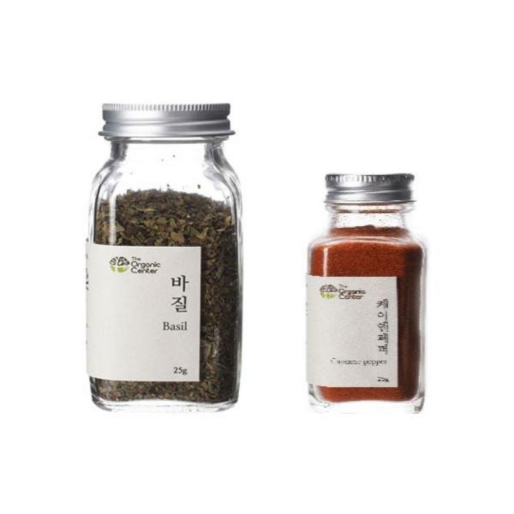 (오가닉 향신료 모음)건바질 25g과 케이엔페퍼 25g 건강 견과 조미료 냄새 고기