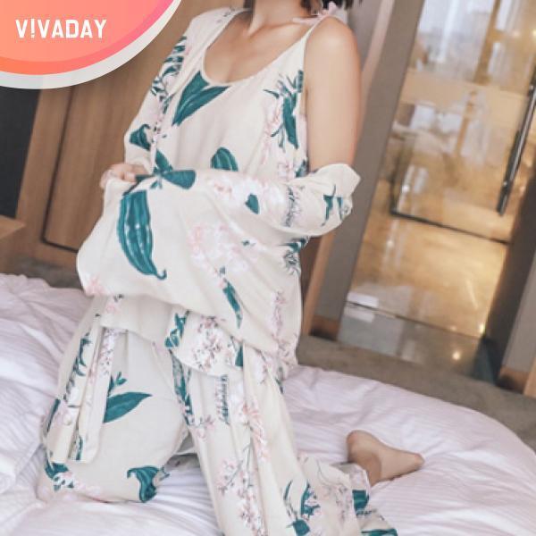 VIVA-M103 3pcs 홈웨어세트 잠옷 홈웨어 파자마 잠옷세트 란제리 실내복 이지웨어 가운