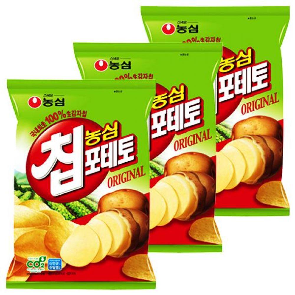 농심)포테토칩 60gx10개 신선한 생감자 순식물성 기름 과자 스낵 간식 갑차칩 포테이토칩