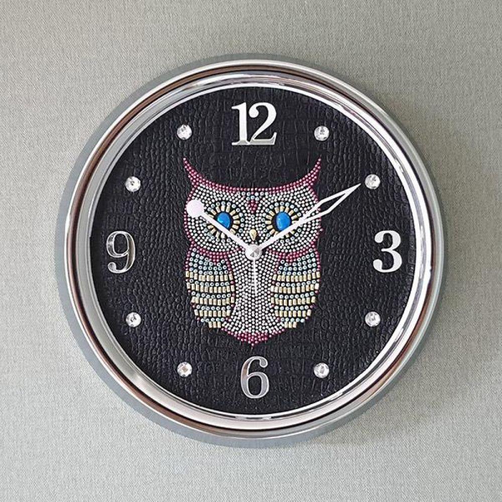스위트 부엉이 크롬 무소음 벽시계 (블랙) 벽시계 벽걸이시계 인테리어벽시계 예쁜벽시계 인테리어소품
