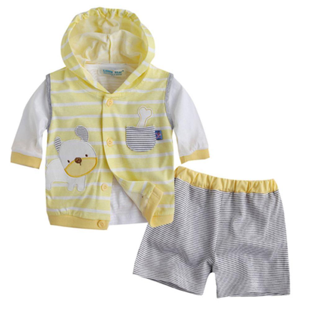 한국 강아지 스트라이프 3종 노랑(0-24개월) 202222 아기옷 유아옷 백일옷 신생아옷 돌